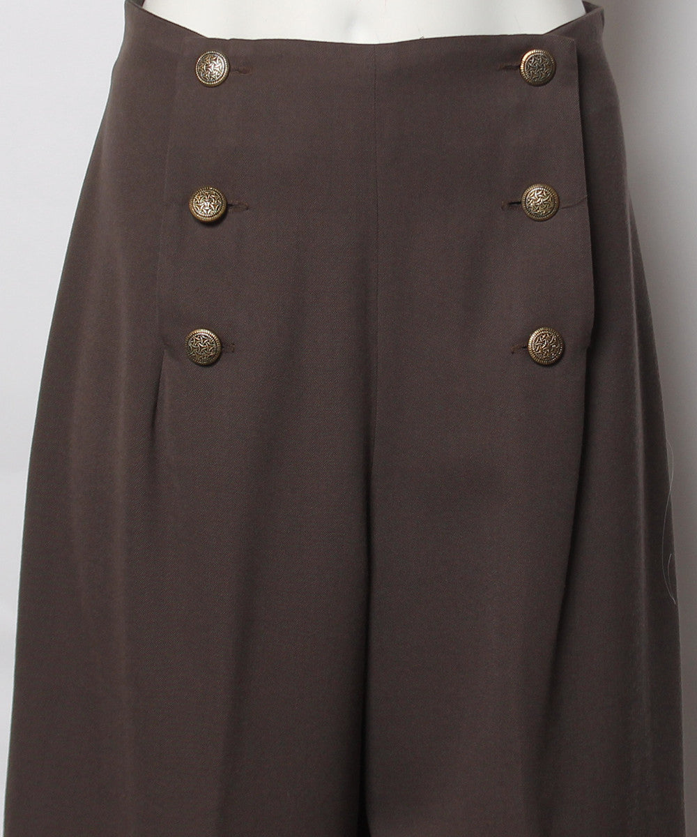 PROGRESS- Brown Wool Sailor Pants with Brass Buttons - C.Madeleine's
