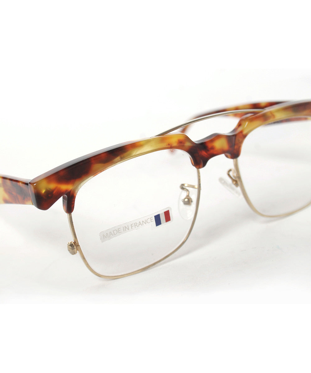 Traction Productions Gold Tone Wire with Faux Tortoise Top Bar Eye Glasses - C.Madeleine's