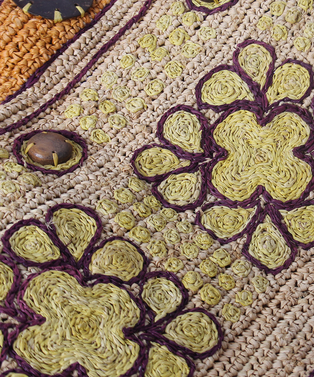 PROGRESS- Jamin Puech Large Natural Raffla Purse with Flower Design - C.Madeleine's