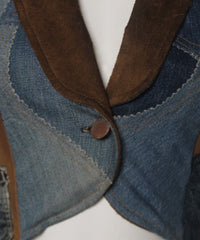 PROGRESS- Love, Melody One Of A Kind Patchwork Denim and Suede Tux Style Blazer - C.Madeleine's