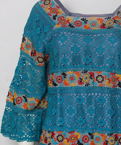 PROGRESS- Turquoise Crochet Floral Embellished Mexican Style Dress - C.Madeleine's