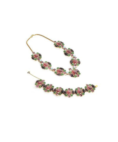 Yves Saint Laurent Multicolor Crystal Choker and Earring Set