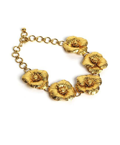 Ornella Bijoux 1980s Gold Tone Woven Necklace with Purple Flowers