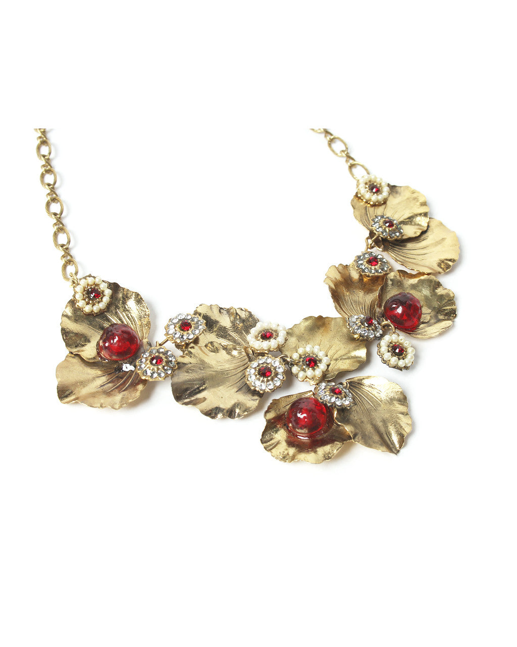 Ornella Bijoux 1980s Gold Tone Leaf Bib Necklace with Ruby