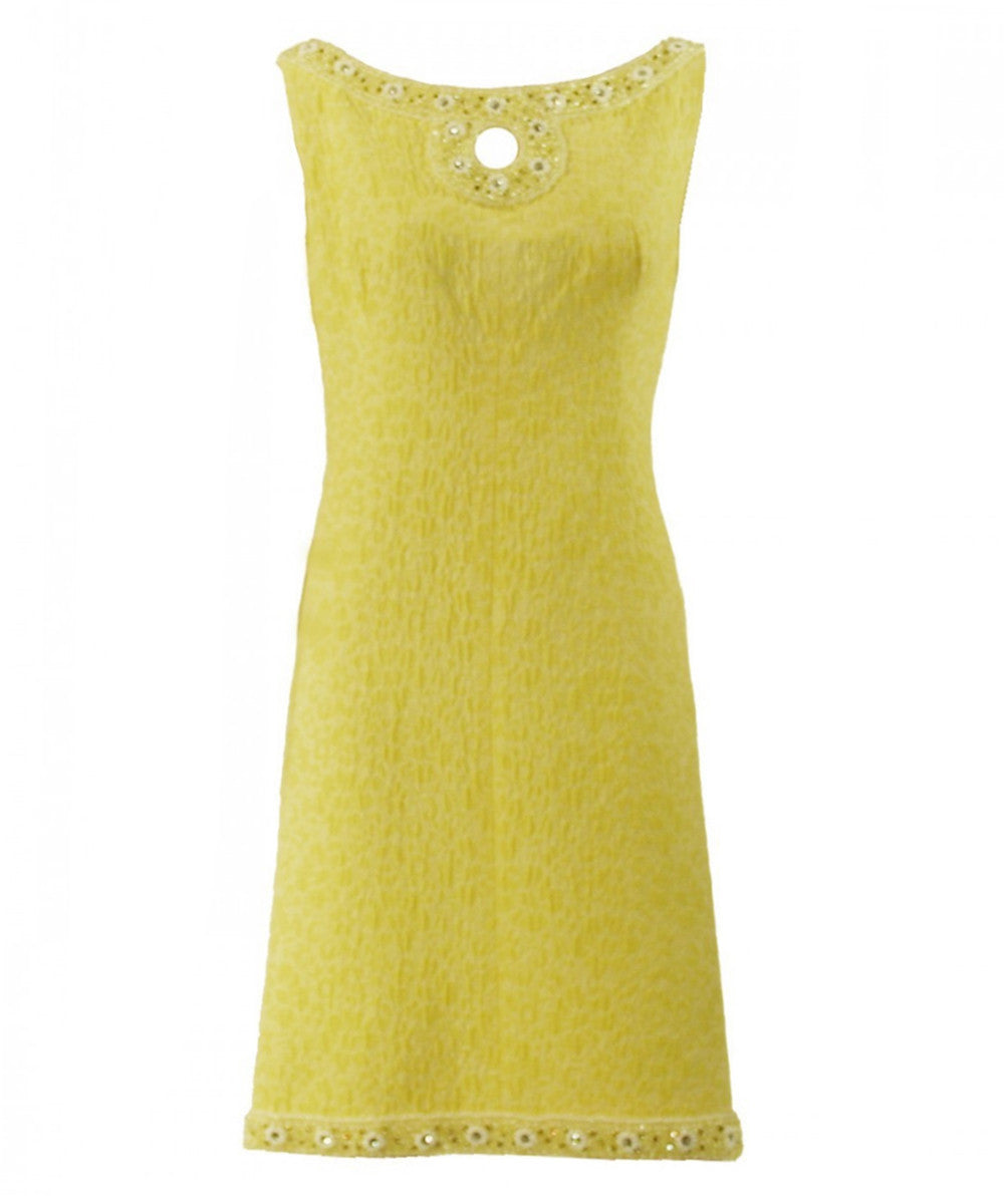 1960s Yellow Victoria Royal Beaded Dress