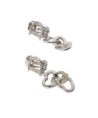 Christian Dior Silver Tone Pave Interlocking Heart Earring - C.Madeleine's