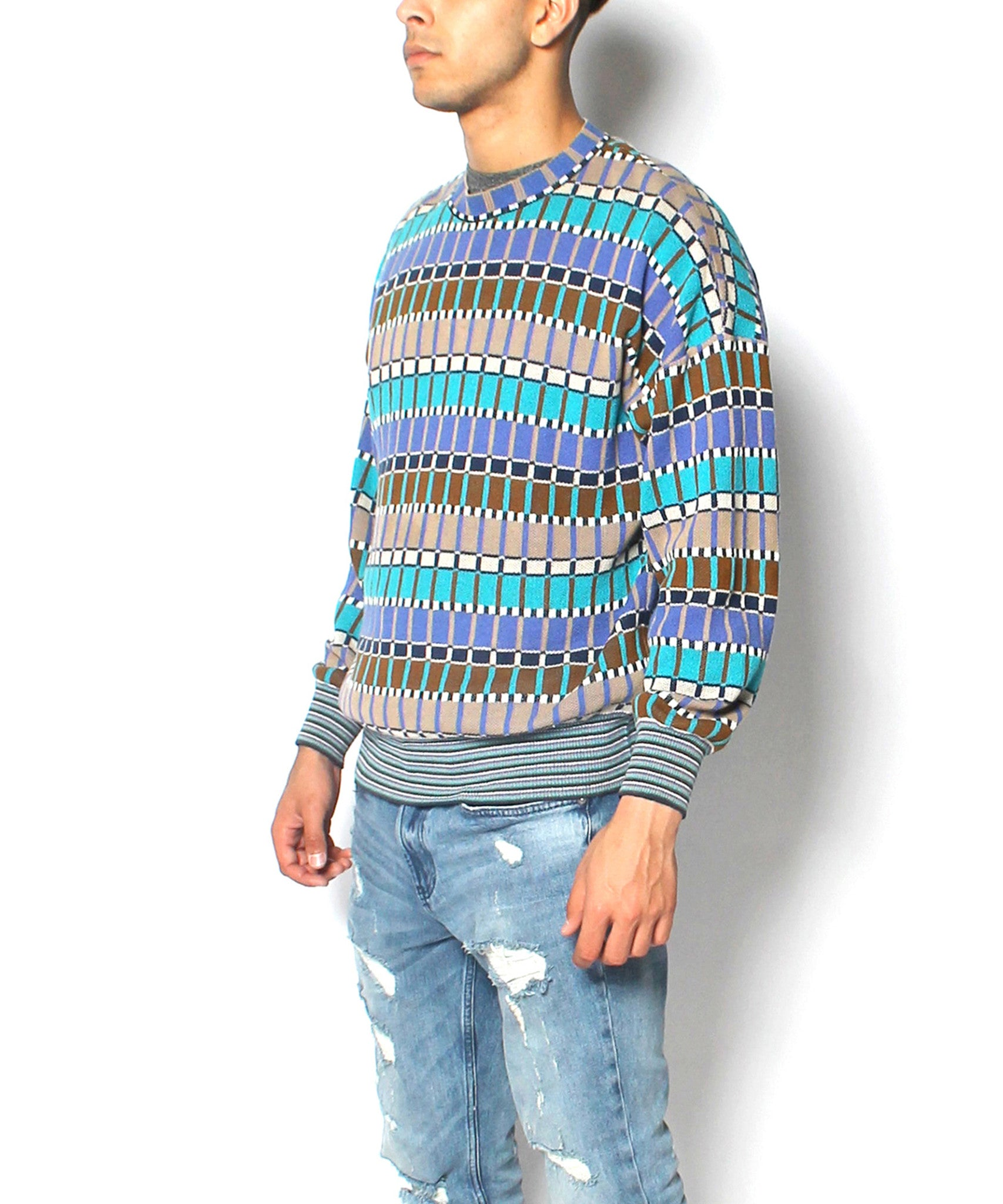 JPROGRESS: Men's Brown, Turquoise, Blk, Wht & Periwinkle Sq. Print Knit L/S Sweater - C.Madeleine's