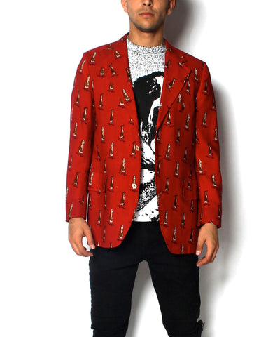 A.PROGRESS- Norman Hilton Red Blazer With Dog/Deer Print - C.Madeleine's