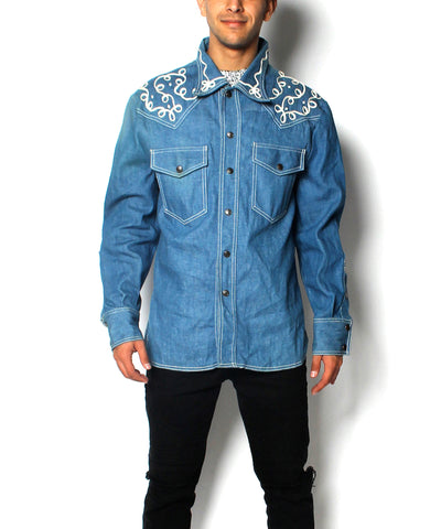 A.PROGRESS-El Toro Bravo Blue Denim Western Shirt with White Embroidery - C.Madeleine's