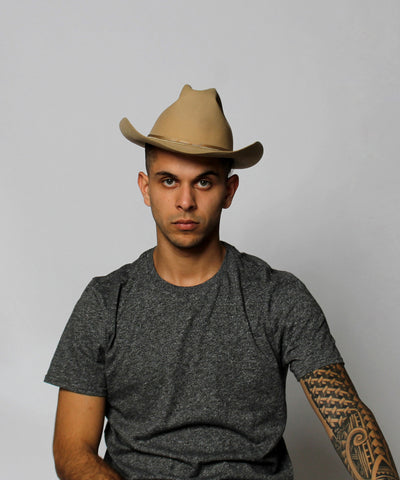 J.PROGRESS: Mens Western Beige Felt Brimmed Hat