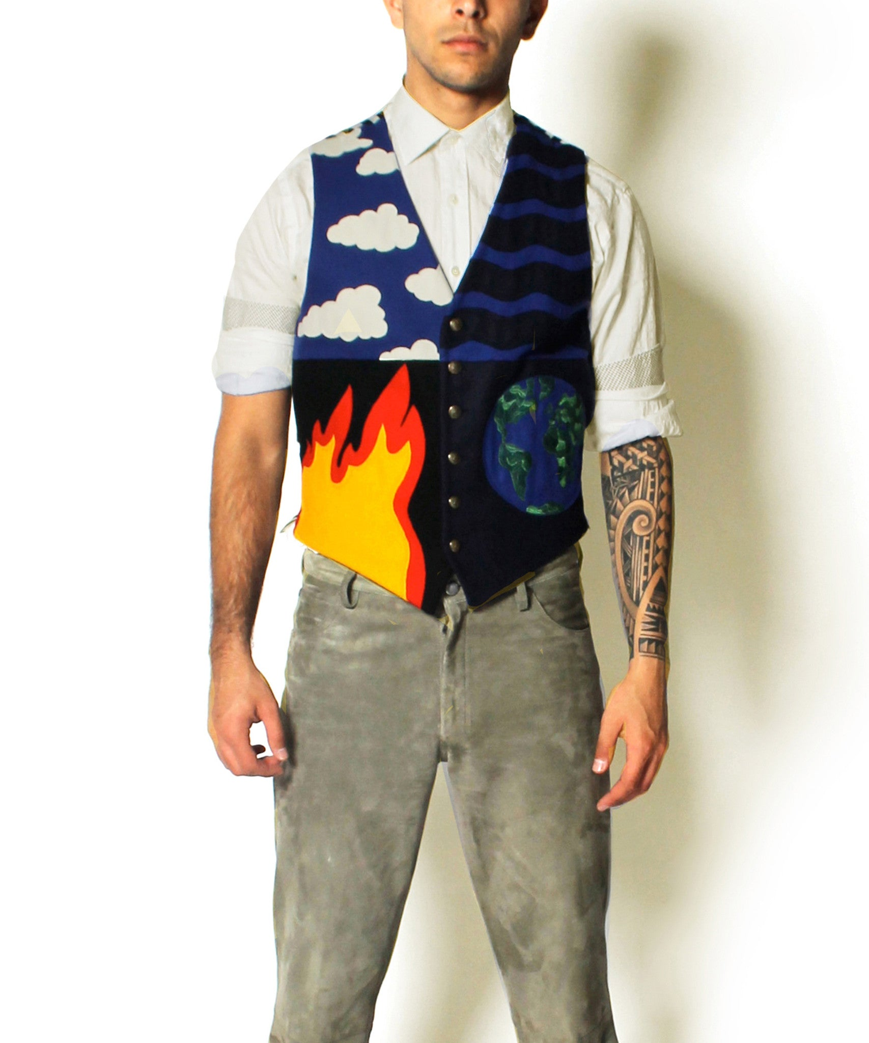 Moschino Cheap and Chic 1990s Earth and Fire Wool Mens Vest