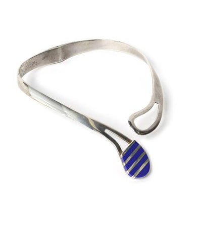 950 Sterling Silver Clamper Choker with Lapis Inlay