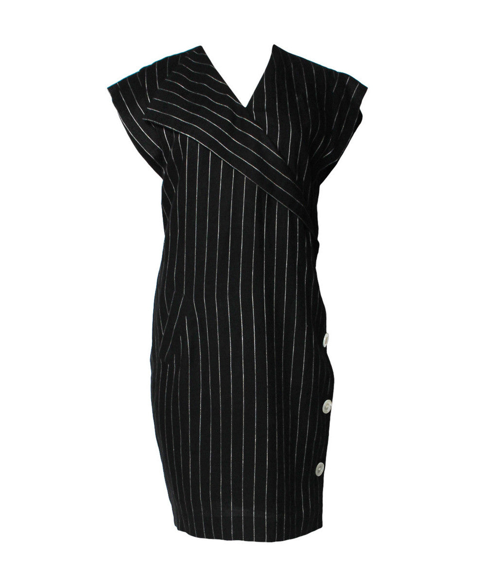 Albert Nipon 1980s Navy & Cream Pinstripe Vest Dress - C.Madeleine's