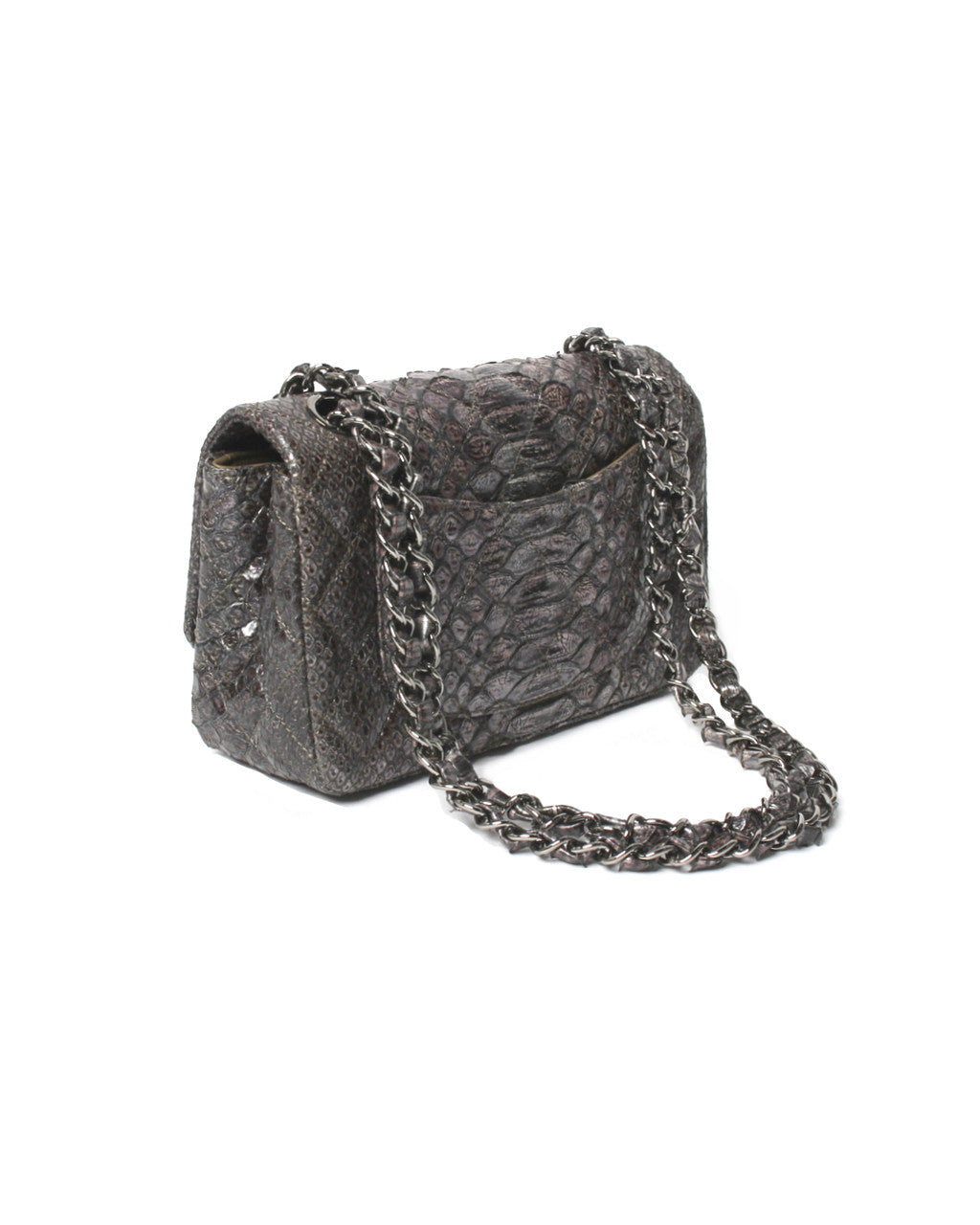 Chanel Metallic Python Flap Bag with Swarovski Crystals