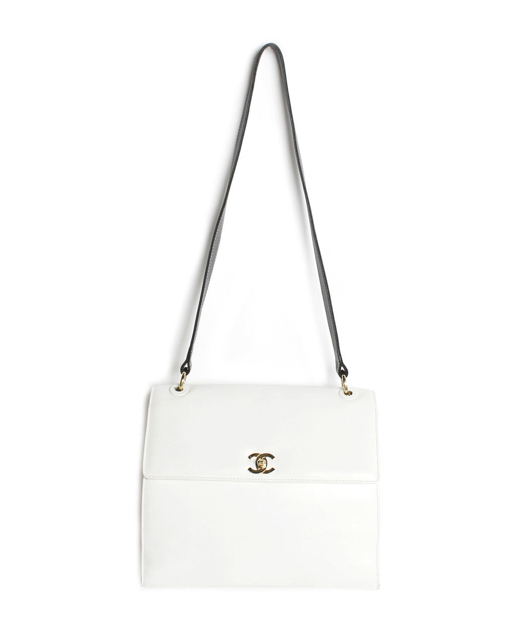 Chanel White & Black Leather Shoulder Purse - C.Madeleine's