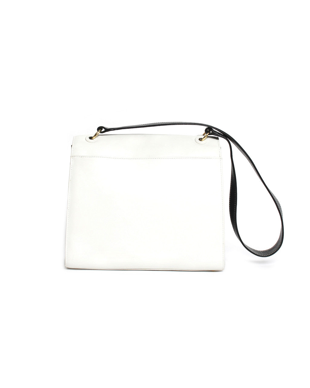 Chanel White & Black Leather Shoulder Purse