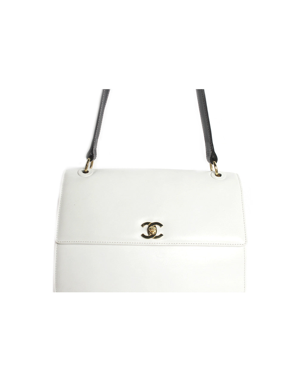 Chanel White U0026 Black Leather Shoulder Purse