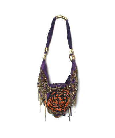 Cesare Paciotti Purple Embellished Evening Bag