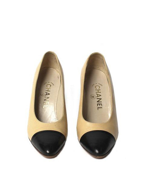 Chanel Two Tone Leather Pumps