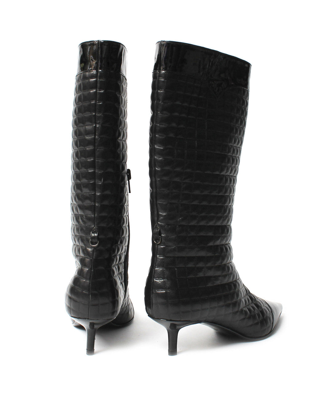 Chanel Black Quilted Leather Boots