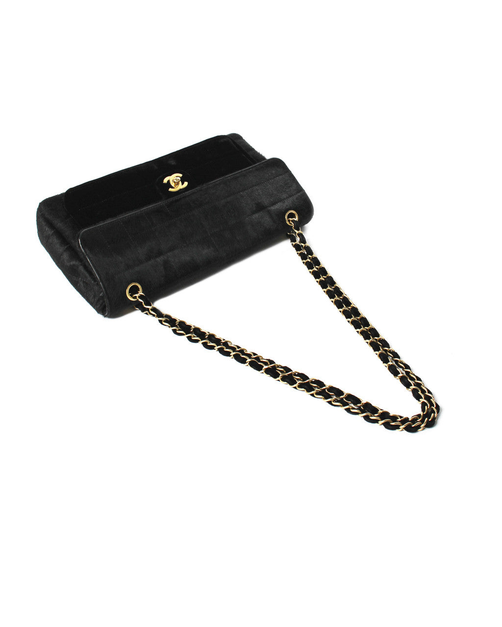 Chanel Black Pony Hair & Velvet Shoulder Bag