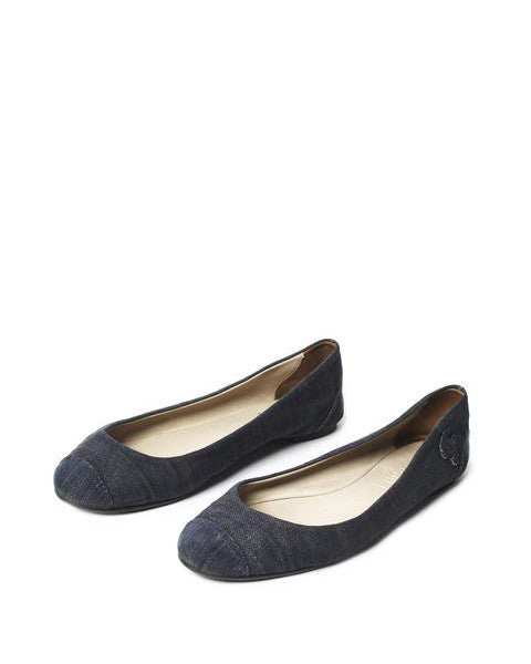 Chanel Denim CC Cap Toe Ballerina Flat