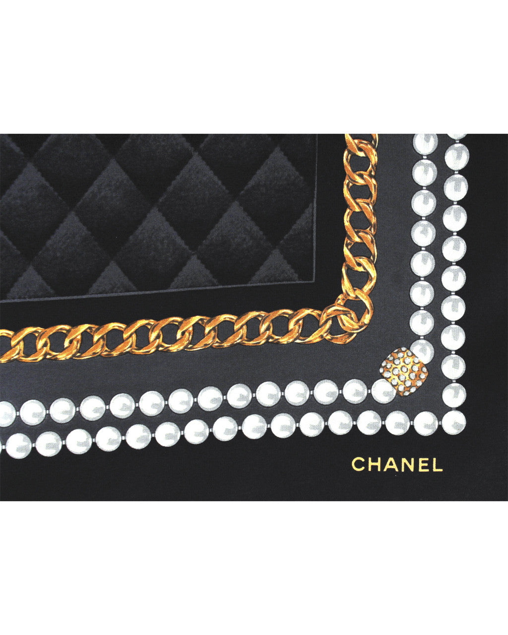 Chanel Pearl & Gold Chain Printed Silk Scarf