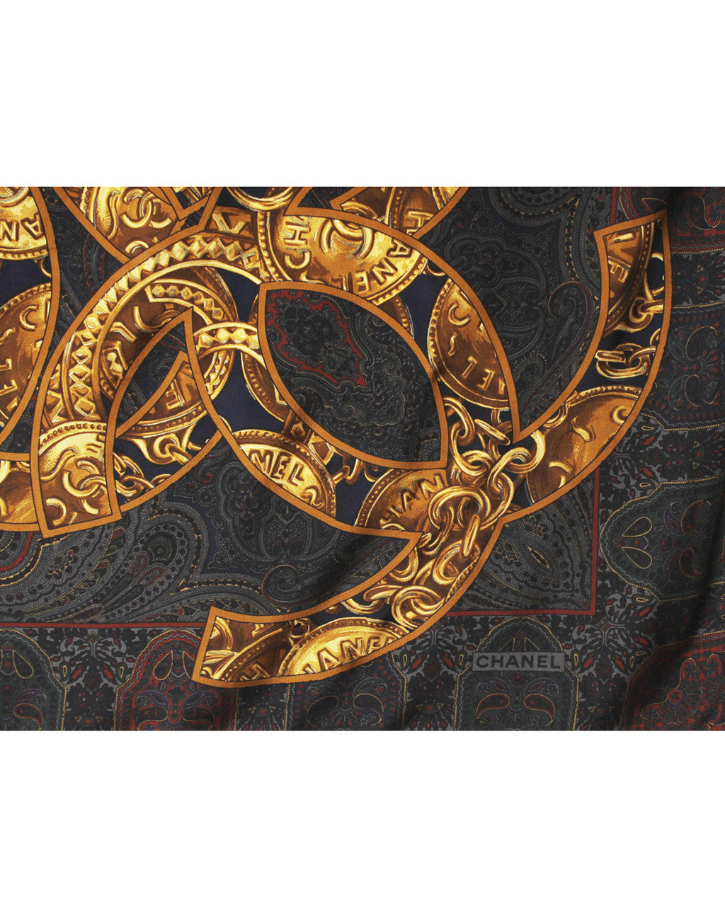 Chanel Coins & Chains Printed Silk Scarf