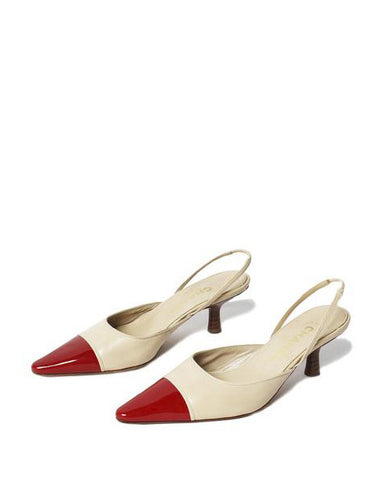 Chanel Pointy Beige/Red SlingBack Kitten Heels