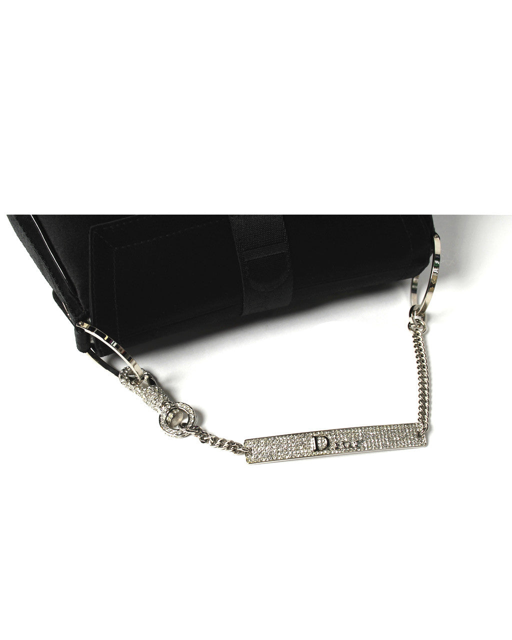 Christian Dior Black Satin Evening Bag with Rhinestone Pave Handle