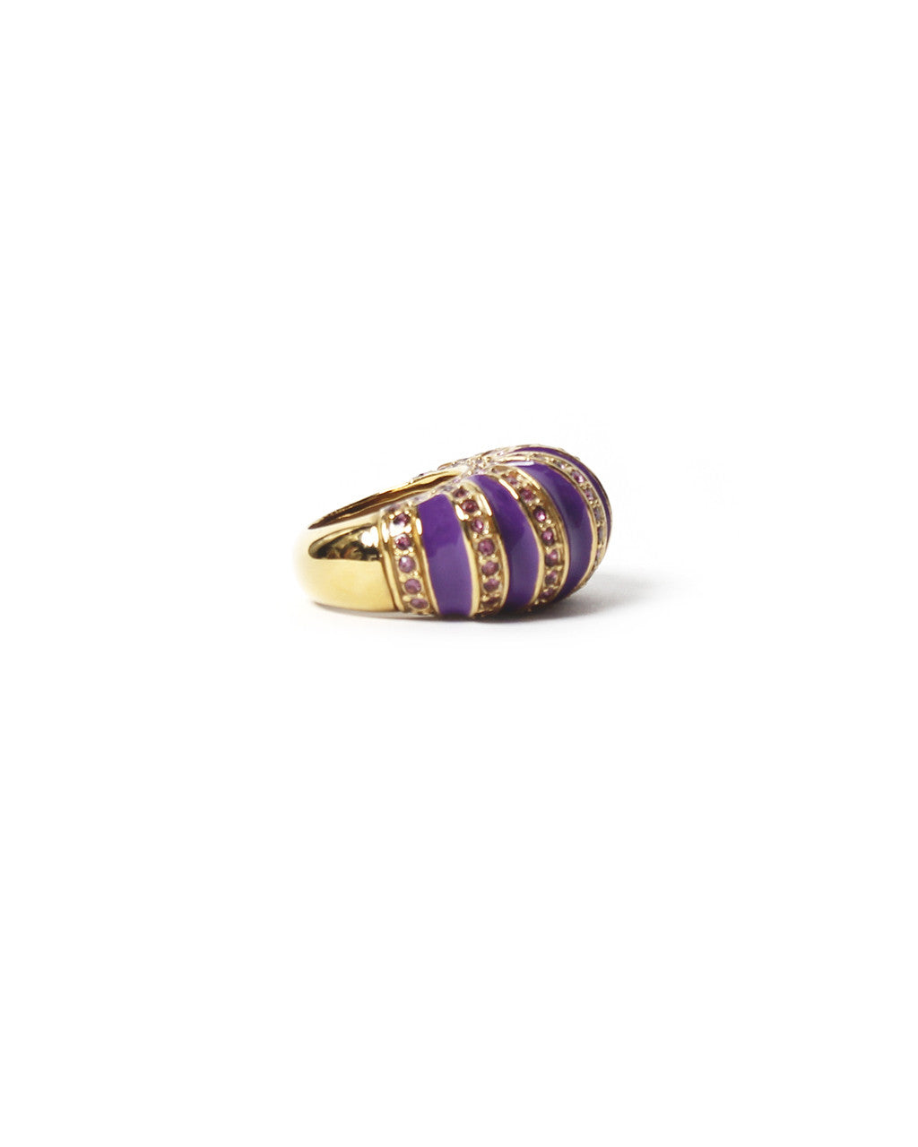 Etro Purple Rhinestones Cocktail Ring