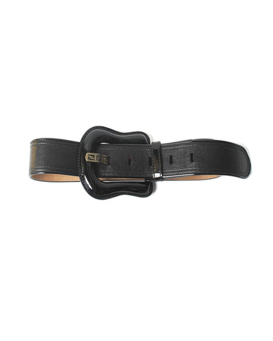 Fendi Wide Waist Black Leather Belt