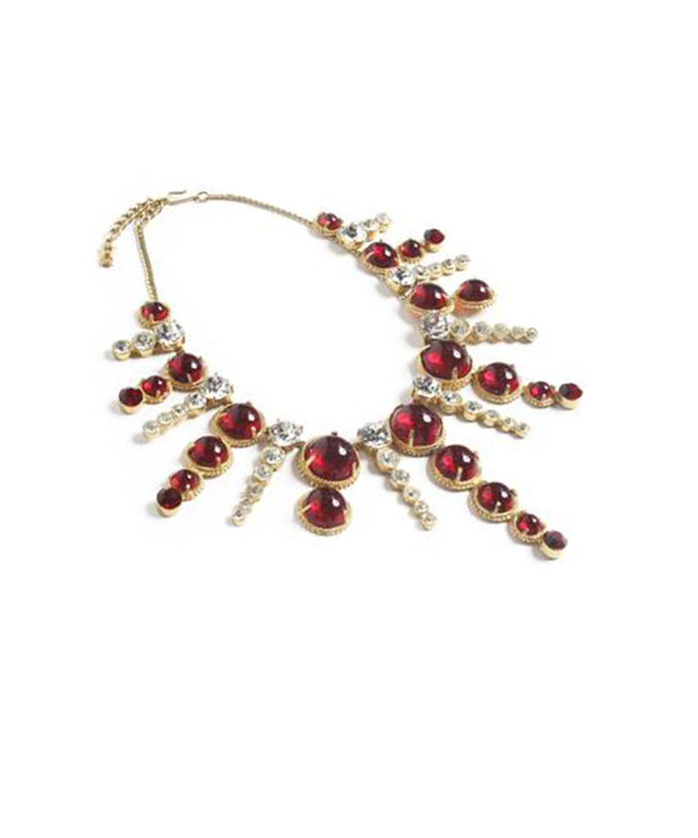 Federic Mosell Red & Clear Rhinestone Dangle Necklace