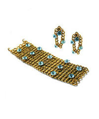 GM Italian Couture Brushed Gold and Aquamarine Set