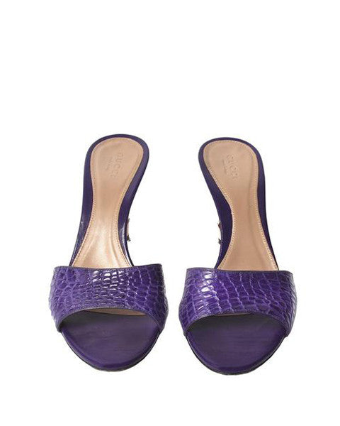 Gucci Violet Crocodile/Alligator Leather Mules