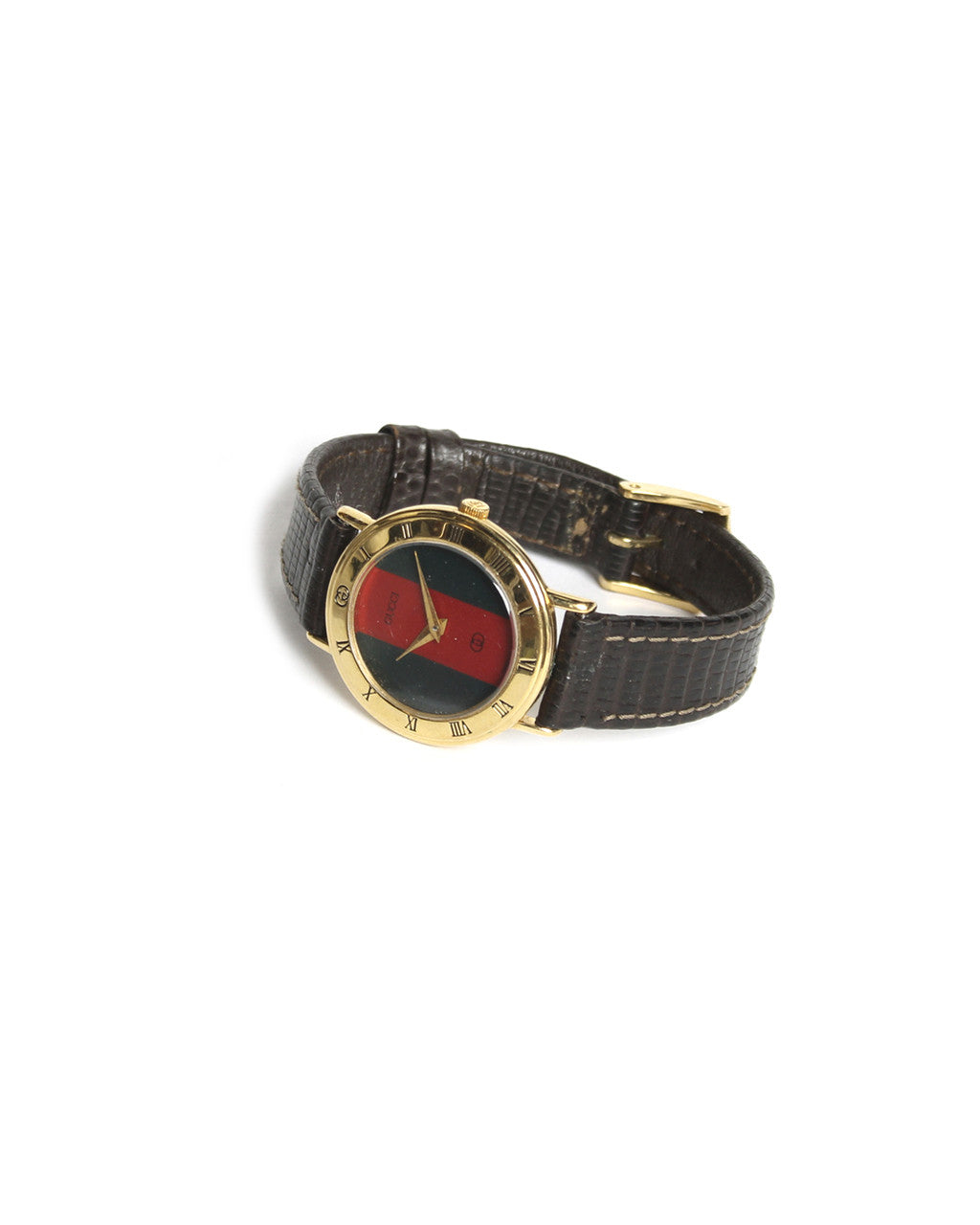 Gucci Watch with Brown Leather Wristband