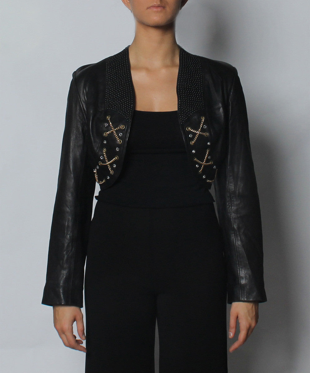 A.PROGRESS- Cropped Black Leather Jacket with Black Beading Rhinestones and Gold Chains - C.Madeleine's