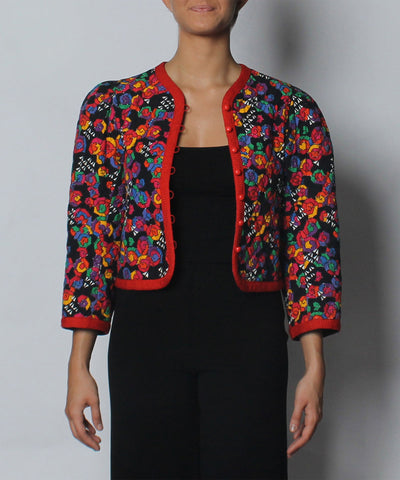 PROGRESS- Saint Laurent Multicolor Graphic Print Quilted Blazer - C.Madeleine's