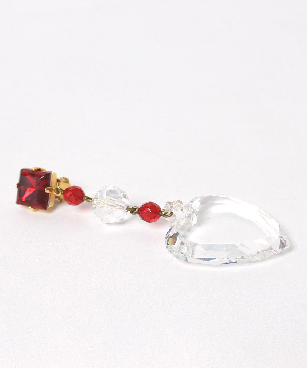 A.PROGRESS-YSL Heart Clear Crystal and Ruby Red Rhinestone Drop Dangle Earrings - C.Madeleine's