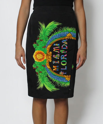 "PROGRESS- 1990's Versace Black with Multicolor ""Miami Florida"" Wrap Skirt - C.Madeleine's"