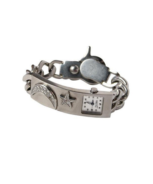 Jean Paul Gaultier Silver Watch with Rhinestone Sun and Moon