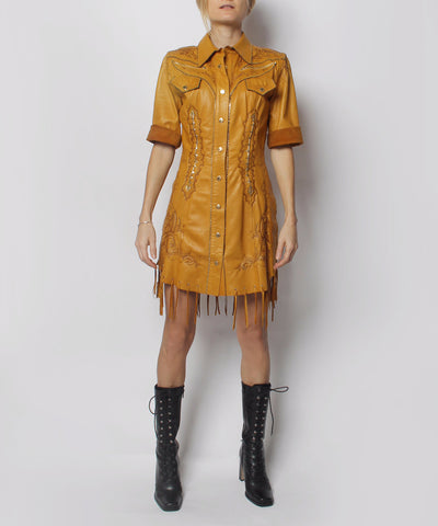 A.PROGRESS- Roberto Cavalli Leather Button Up Western Style Mini Dress With Suede Details and Embroidery (NO PIC ON MODEL) - C.Madeleine's