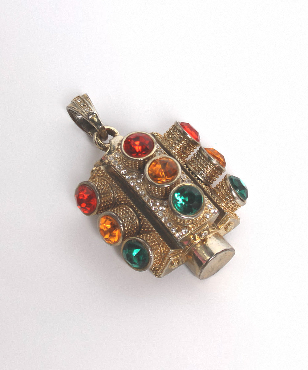 A.PROGRESS- Gold Tone Stop Light Pendant with Rhinestones - C.Madeleine's