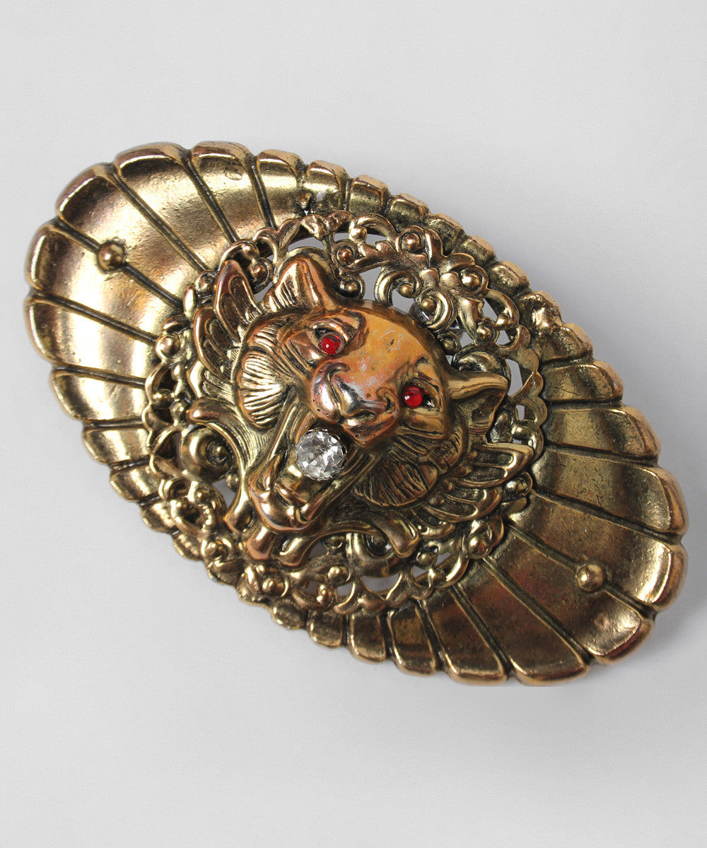 K.PROGRESS - Kandell Marcus Gold Tone Filigree Oval Belt Buckle With Lions Head (NO ON MODEL PHOTO) - C.Madeleine's
