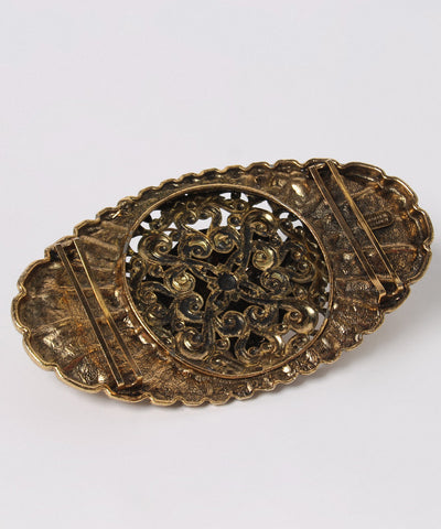 Kandell Marcus Gold Tone Filigree Oval Belt Buckle With Lions Head - C.Madeleine's
