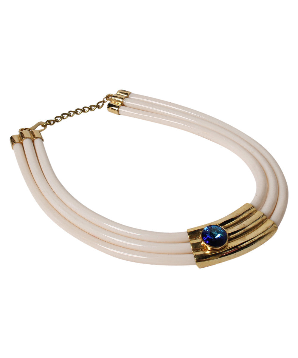 K.PROGRESS - Cream Rubber With Gold Tone 80's Choker - C.Madeleine's
