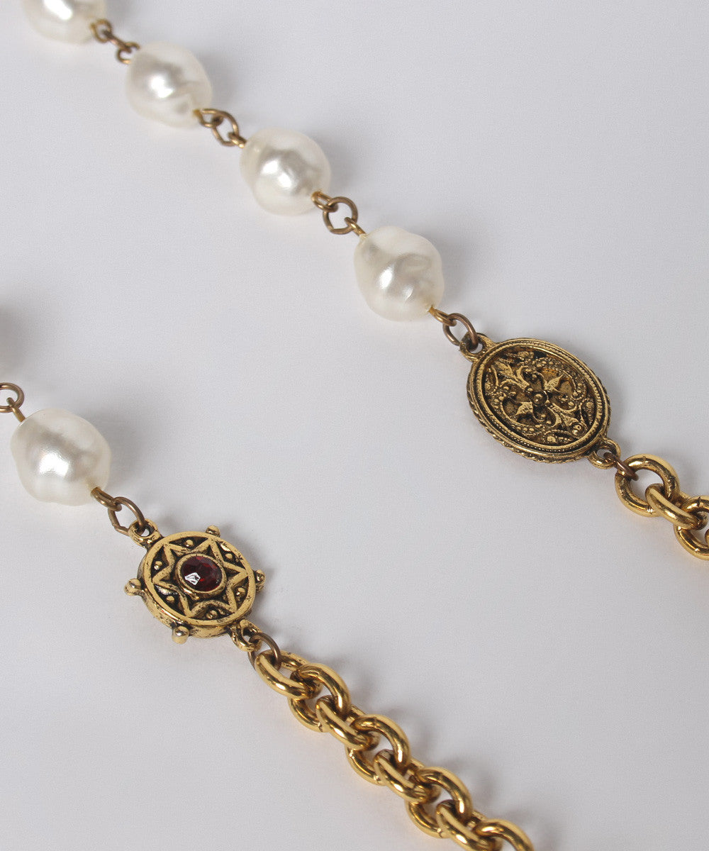 K. PROGRESS - Chanel Style Gold Tone Link Chain With Faux Pearls & Rhinestone Stars - C.Madeleine's