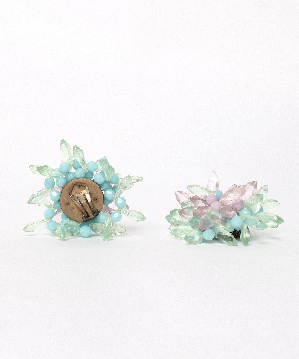 Light Pastel Color Beaded Starburst Cluster Earrings - C.Madeleine's