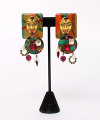 Multi Color Abstract Embellished Mask Earrings - C.Madeleine's