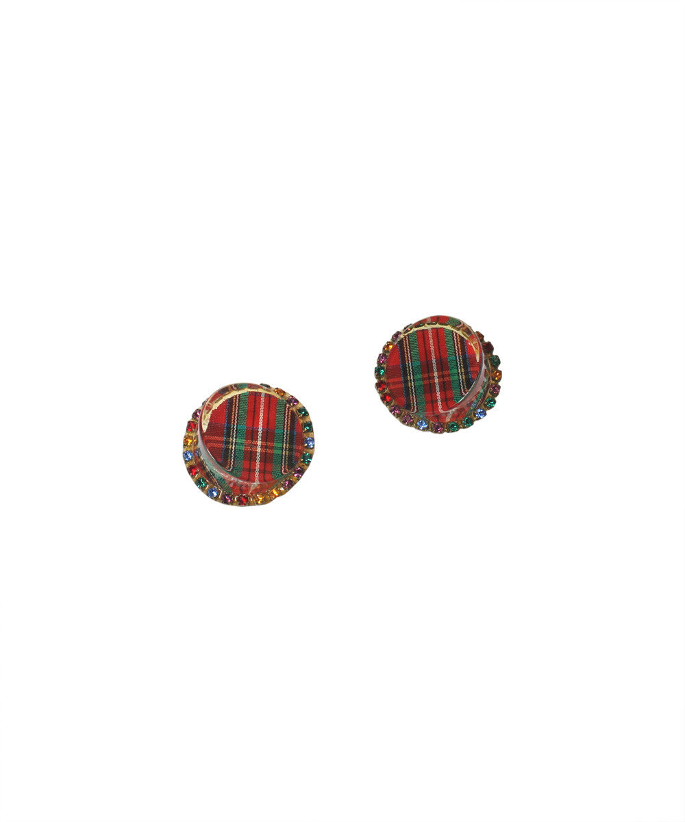 1950s Tartan Plaid Lucite With Rhinestone Earring - C.Madeleine's